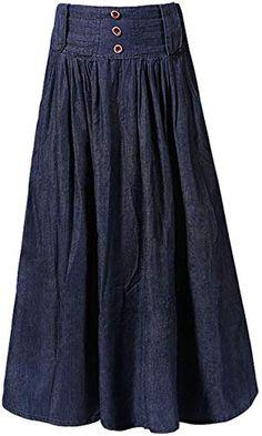 Desfrute exclusivo para chouyatou Cintura larga das mulheres A linha plissada Big Hem Denim Jean Maxi saia longa online - fashion - Saias Modest Denim Skirts, Denim Skirt Outfits, Midi Skirt Outfit, Long Maxi Skirts, Modest Dresses, Modest Outfits, Dress Skirt, Jean Skirts, Mini Skirts