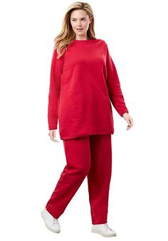 c2930430cec8 Women's Active Top And Bottom Sets - Woman Within Women's Plus Size Petite  Fleece Sweatsuit at Women's Clothing store:
