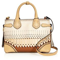 Burberry Small Banner Leather Kiltie Fringe Satchel (£1,345) ❤ liked on Polyvore featuring bags, handbags, fringe handbag, leather handbags, leather fringe handbags, satchel handbags and fringe purse