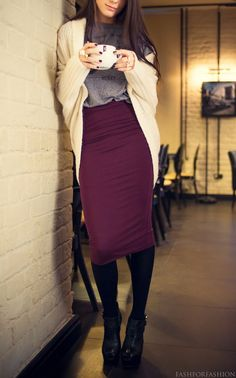Classy but comfy - pencil skirt and oversized cardigan. I would probably just replace that oversized tshirt with a more professional one.