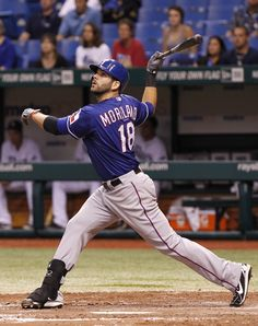 CrowdCam Hot Shot: Texas Rangers first baseman Mitch Moreland doubles during the seventh inning against the Tampa Bay Rays at Tropicana Field. The Rangers won 7-1. Photo by Kim Klement