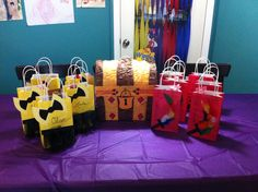 Wiggles goody bags and captain feathersword piñata
