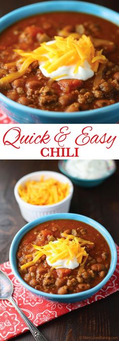 Quick and Easy Chili with Daisy Sour Cream is perfect to serve to your guests during the holidays! Sponsored by Daisy Sour Cream. quick and easy meals Quick Chilli Recipe, Chili Recipe Stovetop, Easy Chilli, Chilli Recipes, Bean Recipes, Soup Recipes, Cooking Recipes, Cooking Chili, Easy Homemade Chili