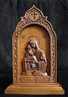 Large Russian Orthodox Wooden Carved Icon Mother Of God Tenderness ...