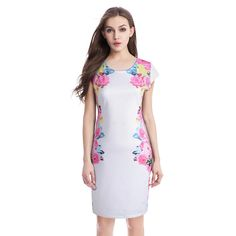 Find More Dresses Information about 3D Print Ladies Short Sleeve Bodycon Office Dress M XXL,High Quality Dresses from Lolo Moda on Aliexpress.com