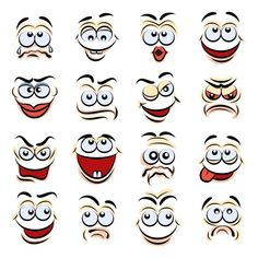 Cartoon Emotions by Cartoon emotions set. Emotion face and expression character, smile funny and angry, vector illustration Cartoon Faces Expressions, Funny Cartoon Faces, Drawing Cartoon Faces, Cartoon Art, Angry Cartoon, Female Cartoon, Girl Cartoon, Drawings Pinterest, Emotion Faces