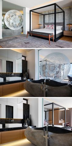 In this modern master bedroom, a four poster bed with charcoal leather and concrete wallpaper add a masculine feel to the space. The en-suite is hidden behind sliding glass panels featuring a sand blasted mandala, providing privacy when required. In the bathroom, a solid stone bath, which was carved out of a large boulder, provides a unique bathroom experience. #ModernBedroom #EnsuiteBathroom #StoneBathtub #MasculineBedroom