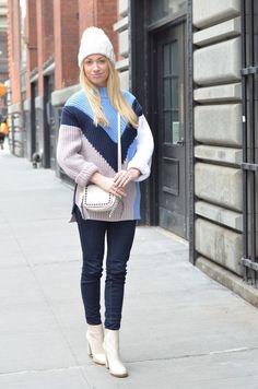 H&M colorblock sweater and Coach Dakotah bag // theStyleSafari, Stefanie Schoen, fashion blogger, style blogger, street style, denim jeans, skinny jeans, how to wear dark denim, how to wear oversize sweater, sweater, colorblock, H&M, white boots, white knit hat, j brand jeans, coach bag, white bag, crossbody bag, shoulder bag, dakotah bag, studded bag, studded purse