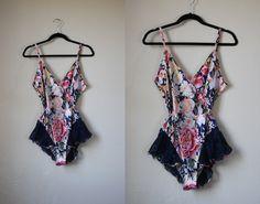 Victoria's Secret Vintage 80s Floral & Lace Flouncy Romper 1980s Corset Nightie Lingerie by mousevoxvintage, $32.00