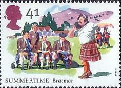 The Four Seasons. Summertime Events 41p Stamp (1994) Braemar Gathering