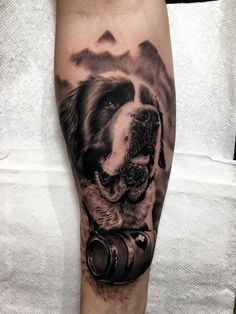 St Bernard tattoo by Ash Higham