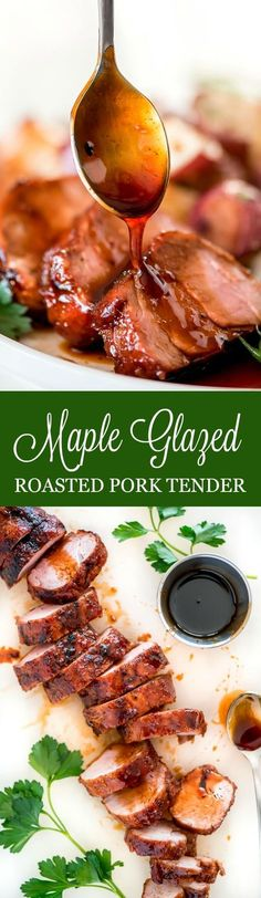 This Maple Glazed Roasted Pork Tenderloin is an ultra tender cut of pork that will leave your dinner guests ranting and raving over your skills in the kitchen. #pork #dinnerrecipes #dinnerparty