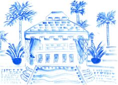 Caroline Chriss- Beach Cabana, Palm Springs Viceroy- Watercolor on Paper