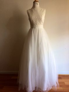 Yes I do Wedding gownCustom Boat neck Open back full by TingBridal