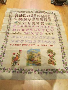 A Pretty 19th Century FRENCH Sampler Stitched By Fanny Buffet Aged 12 Years & Dated 1880 ~ eBay