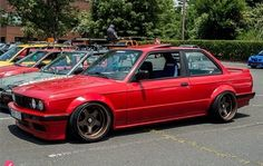 E30 on works meister rims, topped off with ribbeted fender flares. Hell yesss!