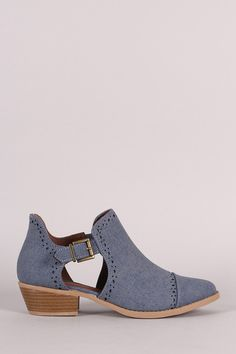 Qupid Perforated Denim Buckled Cutout Cowgirl Ankle Boots – Style Lavish