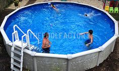 Above Ground Pool Installation Photos - The Pool Factory Above Ground Pool Landscaping, Above Ground Pool Decks, In Ground Pools, Pool Installation, Building A Pool, Deck Plans, Outdoor Living, Outdoor Decor, Backyard Ideas