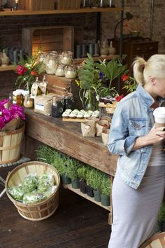 Jars, market feel, rustic, potted herbs, shelving & old wood