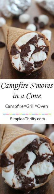 Enjoy this treat out at the camping or at home! Campfire S'mores in a Cone! You can make this over the bonfire, on the grill or in the oven! Plus, add other ingredients to your liking. I have used Strawberries, pieces of candy bars such as Heath bars, Reese's cups and Almond Joy.