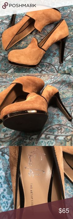 "FRANCO SARTO (the artist's collection) STEP OUT TO IMPRESS!!!Beautiful platform suede, eye catching 4 1/2"" black patient leather heel. Black piping trim. Franco Sarto Shoes Platforms"
