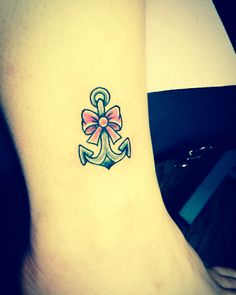Anchor ankle tattoo with pink bow (:   #tattoos #ankletattoo #anchor #bow #pink