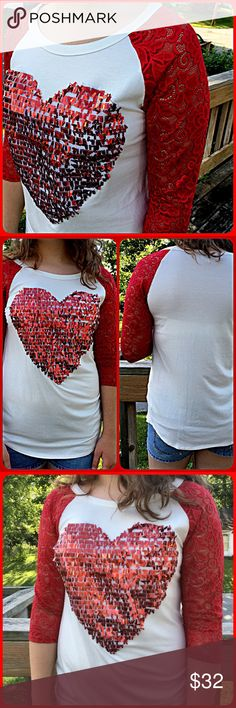 ❤️❤️ Sequined Heart Lace Raglan Tee! NEW! ❤️❤️ Adorable top! Red rectangular sequins on the heart! NWOT only worn to model. Model is a size 8 medium 64 inches tall. Boutique Tops
