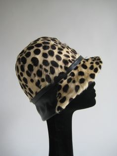 1960s Leopard Fur and Leather Hat