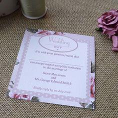 Sarah Alexis Stationery - Vintage Rose Wedding RSVP/Reply Card in dusky pink with rose design