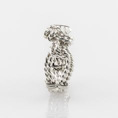 Handmade hand twisted knot rope ring with unusual knot design. Rope Jewelry, Bespoke Jewellery, The Row, Knots, White Gold, Rose Gold, Sterling Silver, Metal, Rings