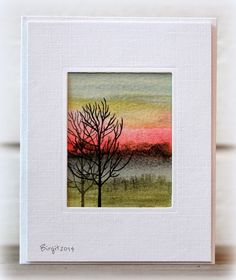 "Rapport från ett skrivbord. Birgit's card stamped the trees from Penny Black's ""On Town"" set onto a watercoloured background."