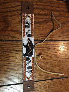 Bear Totem, Native American Inspired, Paw print, Brown and Orange, Delica Glass Loom Beaded Bracelet