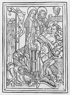 BLOCK BOOKS: An instructional manual, the Ars Moriendi was accompanied by woodcut illustrations such as this image showing Inspiration against Despair. The text and images of the Ars Moriendi focus on the last rites of a dying Christian as practiced by the medieval Church.