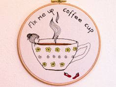 Coffee cup Fix Me Up! - Embroidery Illustration - Coffee lover thread drawing - Floral Coffee mug bath - Contemporary Embroidery -