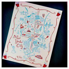 Manhattan New York City Map Letterpress by GooseberryDesigns, $3.00