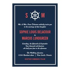 Navy Blue and Coral Nautical Wedding Invitation  #wedding #coral #navy #nautical