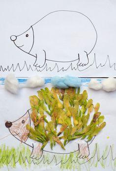 Jeż do wyklejania Autumn Crafts, Fall Crafts For Kids, Autumn Art, Craft Activities For Kids, Spring Crafts, Diy For Kids, Plant Crafts, Tree Crafts, Nature Crafts