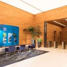 LinkedIn Office - Interior - The LinkedIn foyer with individual table and chair space.