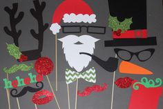 20 Piece Christmas Photo Booth Props Mustache by PhotoBoothgirls