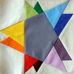 Wonky double star  paper pieced quilt block PDF pattern. $2.90, via Etsy.