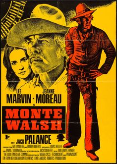 "Monte Walsh (20th Century Fox, 1970). German A1 (23.25"" X 33"") Red and Gold Style. Western. Starring Lee Marvin, Jeanne Moreau, Jack Palance, Mitch Ryan, Jim Davis, G.D. Spradlin, John Hudkins, Michael Conrad, Raymond Guth, Bo Hopkins, Allyn Ann McLerie, Billy Green Bush, and Richard Farnsworth. Directed by William A. Fraker."