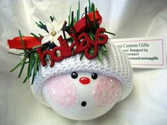 glass snowman ornaments to make | White Poinsettia Snowman Christmas Tree Ornament Hand Painted Glass ...