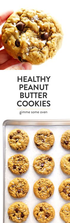 These Healthy Peanut Butter Cookies are easy to make with just 7 ingredients, they're naturally gluten-free, and they are SO irresistibly delicious! Feel free to add in chocolate chips or nuts if you'd like! | Gimme Some Oven