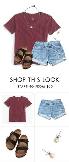 """In Orlando skipping school until Wednesday!!"" by flroasburn ❤ liked on Polyvore featuring J.Crew, Levi's and Birkenstock"