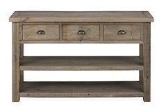 This shabby-chic reclaimed pine this collection brings you stylish and functional living room furniture. A castered cocktail table with pull-thru drawers with coordinating pieces will add a rustic elegance to your cozy living space. This will be the perfect update to your living room. The 6... more details available at https://furniture.bestselleroutlets.com/entryway-furniture/entry-tables/product-review-for-jofran-940-4-slater-mill-sofamedia-table-50w-x-18d-x-30h-medium-brow