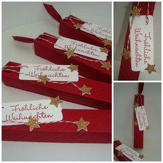 Noch schnell ein paar kleine Weihnachtsgrüße möchte ich Euch heute zeigen. Aus einem A4 Bogen Farbkarton in Chilli sind diese 4 Küsschen...