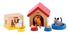 Hape Family Pets Hapes Family Pets wooden set is fun bright and modern - perfect accessories for your wooden dolls house. The dog cat and rabbit have their own kennel bed and hutch as well as feeding bowls with food!. http://www.MightGet.com/january-2017-12/hape-family-pets.asp