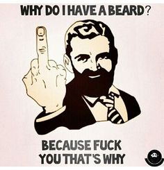 Why do I have a beard? Because fuck you, thats why. Bearded beards humor Check out Dieting Digest This is what my reply looks like every single time you ask me I Love Beards, Great Beards, Awesome Beards, Sexy Beard, Epic Beard, Beard Quotes, Shirt Quotes, Beard Game, Beard Lover