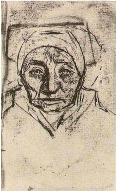 Vincent van Gogh Peasant Woman, Head Drawing