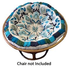Cotton Craft - Papasan - Peacock Blue - Overstuffed Chair Cushion
